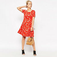 NEW French Connection Floral Print Drop Waist Dress Floral Print Red Summer 8-18