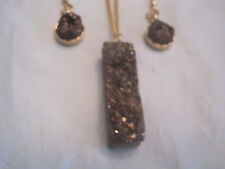 "Chocolate Brown Druzy Geode Pendant Set on 18"" Gold Necklace Set~Free Ship~LBDEZ"
