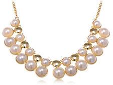 Cluster form Golden d Enamel And Pearl hotAdjustable Formal Necklace Ali