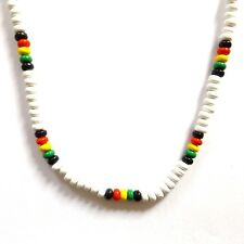 WHITE RASTA REGGAE JAMAICAN SURFER BEACH STYLE BEADED NECKLACE WITH CLASP