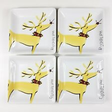 Pottery Barn Rudolph Reindeer Square Appetizer Plates Set of 4 Christmas 6.25""