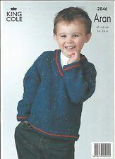 "Knitting Pattern King Cole 2846 Baby Child's Aran Jumper Cardigan Hat CH 16-26"""