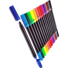 12 X Dual Tip Double Ended Felt Tipped Pens Fine & Thin Thick Duel Colouring Set