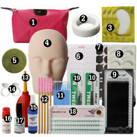 19Pcs Lash Starter Kit Eyelash Extension Makeup Practice Mannequin Training Head