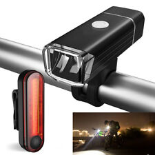 Bike Bicycle Lights USB LED Rechargeable Set Mountain Cycle Front Back Headlight