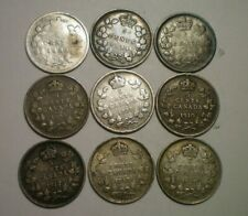 1880, 1896, 1899, 1904,1907, 1910, 1912, 1919 AND 1920 CANADA 5 CENTS