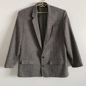Vintage 80s 52XL 52 XLong Wool Blazer Jacket Herringbone Tweed Leather Buttons