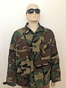 UNISSUED USGI ARMY WINTER WEIGHT NYCO WOODLAND CAMOUFLAGE BDU COMBAT TOP XL/REG