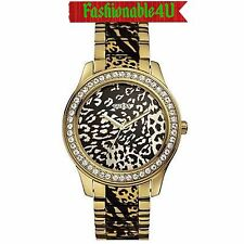 NEW AUTHENTIC GUESS Gold Leopard-Print Crystal Women's WATCH U0465L1 w BOX $165
