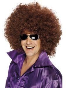 Mega Afro Wig Mens Ladies 1970s Disco Dancing Fancy Derss Accessory Brown Afro