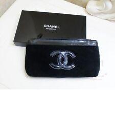 Chanel Beauty Makeup Trousse Bag Pouch Clutch Black Velvet