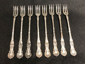 Set of 6 Antique Collectible 1835 R WALLACE 1902 FLORAL Ice Cream Fork 5 12 Mono B