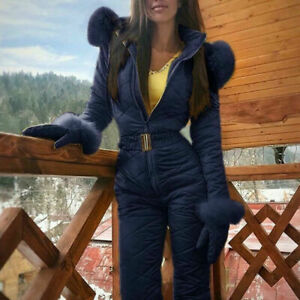 Women Winter Warm Snowsuit Outdoor Sports Snow Ski Suits Waterproof Jumpsuit