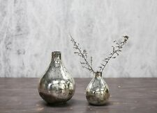 1 Antique Silver Mercury Glass Vase, Vintage Shabby Chic Wedding Tabia Nkuku