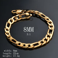 Solid 18K Gold Plated Bracelet Figaro Men's 8mm Chain Fashion Jewelry Party Gift