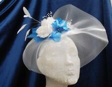 LARGE WHITE CRINOLINE WITH BLUE ORCHIDS -  FASCINATOR - HATINATOR - By Valerie J