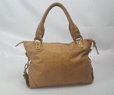 JENRIGO Tan Calf Skin leather shoulder Bag zipper large Italy Hobo