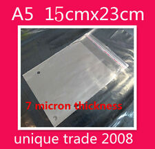 100 A5 15x23CM Cello Bags Self Adhesive Resealable Clear Plastic Cellophane Bag