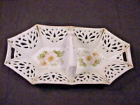 Antique German Reticulated Basket Tray Server w/ Handle Mitchell Woodbury Co
