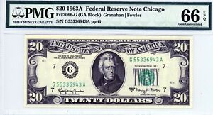 $20 1963A Federal Reserve Note Chicago  Fr#2066-G  G55336943A  PMG 66 EPQ
