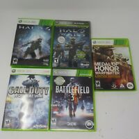 (5) Xbox 360 Video Game Lot Halo 4 Wars Battlefield 3 Medal of Honor Warfighter