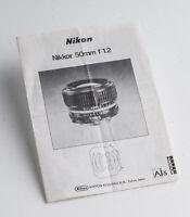 Bedienungsanleitung Gebrauchsanweisung Nikon Nikkor 50mm f 1.2
