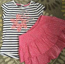 Lot Gymboree Girl short sleeve star sequin tee top pink glitter skort 10 Large L