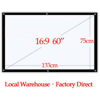 60'' Inch Portable Projector Screen Outdoor Home Cinema 16:9 Movie Matt White US