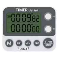 LCD Digital Temporizador Cocina Dual Cuenta Atrás Hasta Alto Alarma Reloj Con
