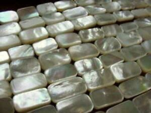 3 Natural Mother of Pearl Shell Rectangle Beads 2143