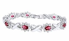 14K Gold Over Pink Ruby Cubic Zirconia Link Womens XO Bracelet $69.99