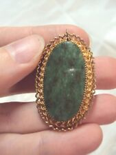 Green gemstone stone oval 1/20 GF gold rope trimmed design pin brooch pendant
