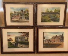 Lot Of 4 Davis Gray Watercolor Prints York Pa Framed Matted
