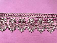 """Laces Galore""Rose Gold Lace Guipure Venise Trim  2"" wide  Craft"