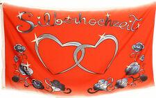Fahne Silberhochzeit Herzen Rot 1,5 Meter x 0,9 mit Oesen Neu Dekofahne
