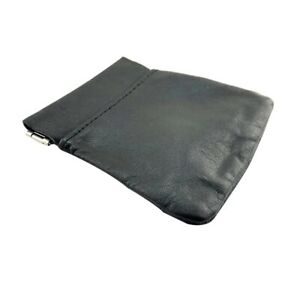 Coin Purse Black Leather Coin Pouch Purse Snap Key Wallet Pouch Money Change Bag