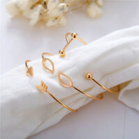 3Pcs/Set Simple Fashion Women Gold Open Adjustable Cuff Bracelet Bangle Jewelry