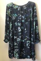 New Loft Women's Size M Blue Floral Double Layer Long Sleeve Drop Waist Blouse