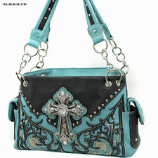 Black and Turquoise Rhinestone Cross Studded Accents Western Style Purse