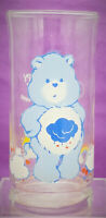 Care Bears Grumpy Bear Pizza Hut Blue Drinking Glass Cup 1983 Vintage