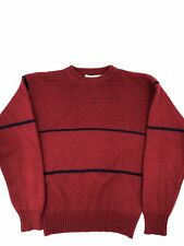Vtg Mens Yves Saint Laurent YSL 100% Wool Sweater Tailored Crewneck Striped Red
