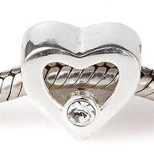 LOVE HEART CLEAR Genuine 925 Sterling Silver charm bead fit European bracelet