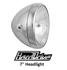 "Hard Drive Motorcycle Headlight Chrome Assembly 12v 60/55w H4 7"" Chopper Bobber"