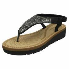 Sandalias con tiras de mujer negro de piel sintética
