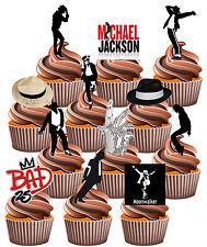 Michael Jackson Themed - Fun Fully Edible Birthday Cup Cake Toppers Decorations