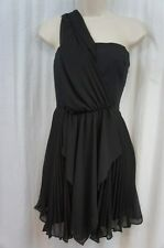 BCBG BCBGeneration Dress Sz 6 Black One Shoulder Pleated Evening Cocktail Dress