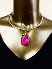 NECKLACE - AFRICAN FUCHSIA TEARDROP PENDANT CHOCKER STATMENT NECKLACE Medium