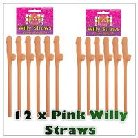 12 Pack PINK Willy Drinking Straws Hen Night Stag Night Party Straws