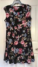 allison daley Petite Size 12P Black Floral Dress Pleated Sheath Sleeveless NWT