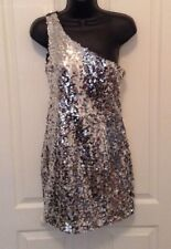 Atmosphere Sz 8 Silver Sequin One Shoulder Dress f1